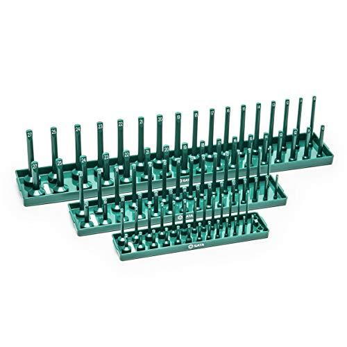 Sata ST95401 SATA 1/4',3/8' and 1/2' 3-Piece Metric Socket Tray Set, Green