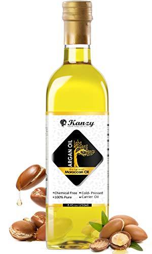 Kanzy Aceite de Argan Puro de Marruecos 100% Bio Morrocan Oil Rico en Vitamina E y Antioxidantes, Argan Oil para Cabello, Barba, Piel, Cuerpo y las Uñas en Botella de Vidrio (250ml, argan)