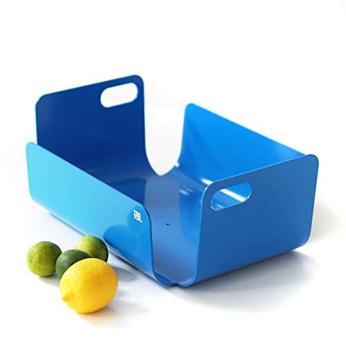 TEBTON® Made in Berlin | UNIBODY2 (Blau, Medium) – Obst-Schale aus Metall, lebensmittelgerechte Deko-Schale mit Griff, 40 x 30 x 17 cm (LxBxH)