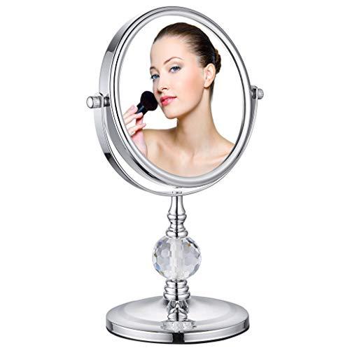 Miroir de Maquillage grossissant Double Face, grossissement 1X et 8X avec Rotation à 360 degrés - Clair et Transparent