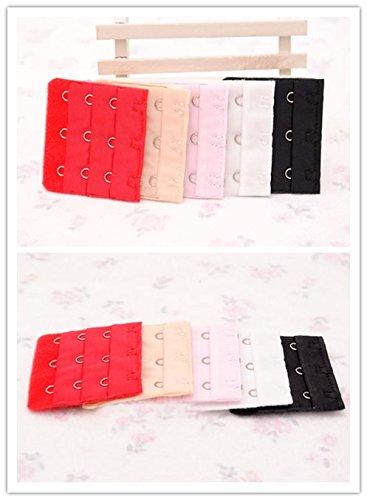 Doutop ブラジャー延長ホック 2 段 & 3 段 リラックスフック 間 1.9cm 赤 白 黒 ベージュ ピンク 5色 10個セット 幅 3.8cm & 幅 5.5cm