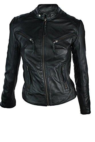 Damen Leder Jacke in Biker Style Schwarz Rock Style Echtes Leder