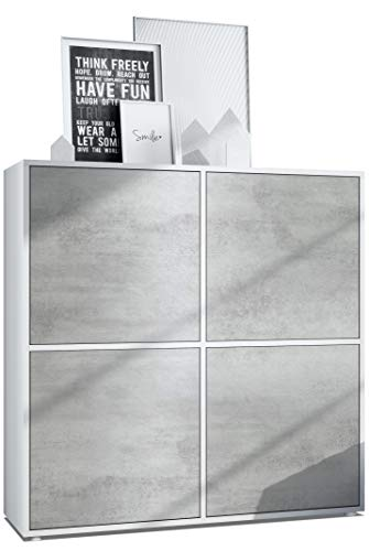 Vladon Highboard Cuba V2 Schrank 104 x 105,5 x 35,5 cm Sideboard mit 8 Fächern, Korpus in Weiß matt/Fronten in Beton Oxid Optik