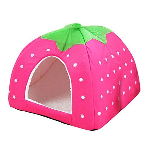 FAMOORE Hundehütte Haustier Hund Wave Point Haus Katzenhaus Erdbeerhaus Haustierbedarf (Pink, X-Large)