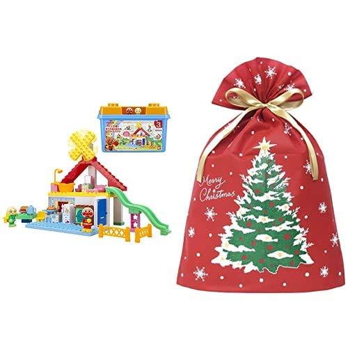 アンパンマン ブロックラボ パン工場とすべり台のおうちブロックバケツ (ごっこ遊びも楽しめる!ワールドブロックシリーズ) + インディゴ クリスマス ラッピング袋 グリーティングバッグ3L クリスマスツリー レッド XG983