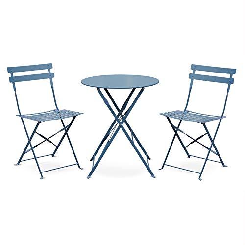 Salon de Jardin bistrot Pliable - Emilia Rond Bleu grisé - Table Ø60cm avec Deux chaises Pliantes, Acier thermolaqué
