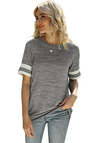 Camiseta de manga larga para mujer, cuello redondo, color bloque Grau2. L
