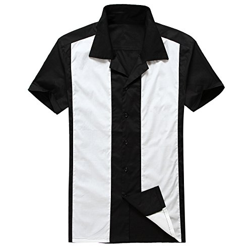 Moda para Hombre Casual Camisas de Vestido Cowboy Blanco Manga Corta Vendimia (XXX-Large, Black)
