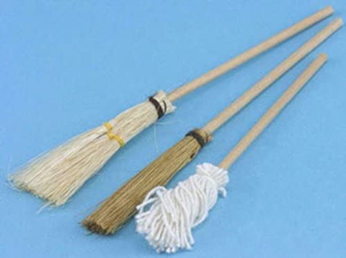Dollhouse Miniature Mop and Broom Set by International Miniatures by International Miniatures