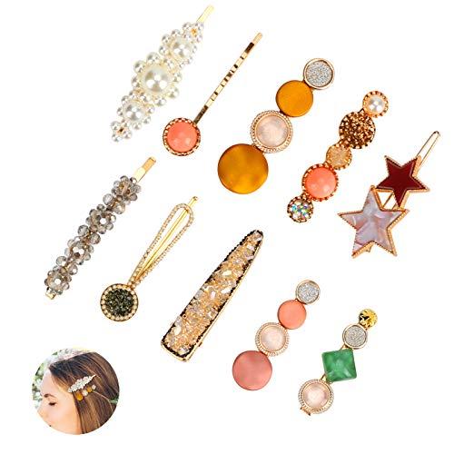 Yideng Perle Haarspangen,10 Stück Strassperlen Haarspangen Elegante handgemachte Haarspangen Acrylharz Haarspangen Haarspange Haarnadeln für Frauen, Damen und Mädchen