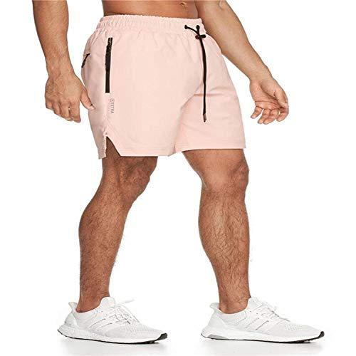 Hommes Gym Fitness Shorts Courir Jogging Sports Lâche Respirant Séchage Rapide Bodybuilding Sportswear Homme Pantalon Court L Rose