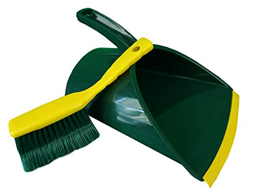 Novaliv Kehrgarnitur Jumbo Krallengarnitur 2-TLG Set Kunststoff Grün Gelb Gebogene Borsten Kehrset Kehrschaufel Handfeger (Kehrgarnitur Krallenfeger, 1)