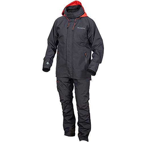 Westin W6 Rain Suit Steel Black - Regenanzug für Raubfischangler, Regenjacke & Regenhose zum Angeln, Regenanzug für Angler, Größe:XXL