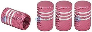 YOU.S Alu Ventilkappen Pink/Rosa mit Silberringen mit Dichtung Ventil Kappen Abdeckung für Auto PKW LKW (4 Stück)