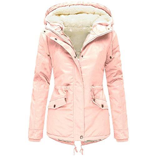 90sMuse Women Down Coat Winter Warm Sherpa Fleece Lined Hooded Cotton Padded Jacket Thermal Zip Up Puffer Jacket Outwear (Pink, XL)