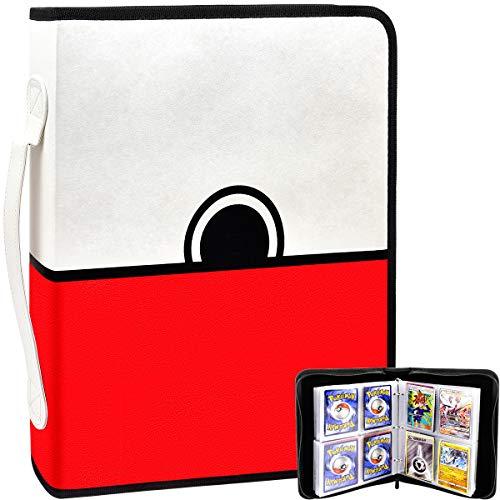 Kartenordner für Pokemon Sammelkarten Hüllenhalter Album, 400 Taschen mit Aufbewahrungshülle für PM TCG Kartenspiel, C.A.H., Phase 10, Baseball mit 50 Premium 8-Taschenblättern, Alle Kartenspielschutz
