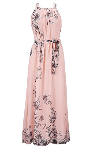 MAGIMODAC Damen Chiffonkleid Cocktailkleid Abendkleid Ballkleid Sommer Maxi Kleider Lange Sommer Vintage Kleider (Etikett 3XL/EU 48, Rosa)