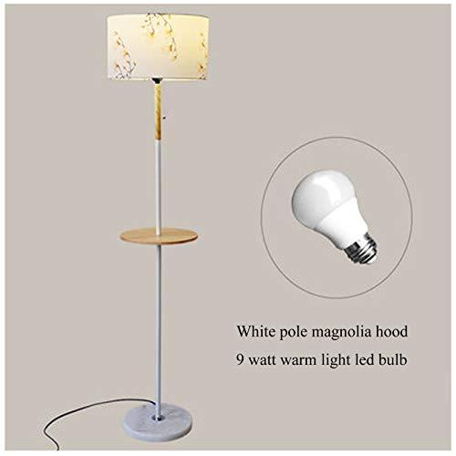 KOKOF Lámpara de pie la Bandeja de Rack con Mesa de Madera Mesa de café nórdica Sala de Estar Dormitorio Simple Personalidad Moderna Creativa cálida lámpara de Piso yellow2-9W