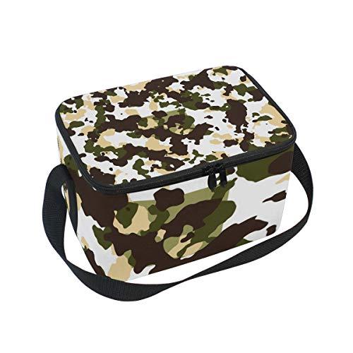 Alinlo camouflage modello pranzo, cerniera borsa frigo termica, scatola per il pranzo pasto Prep borsetta per picnic scuola donne uomini bambini