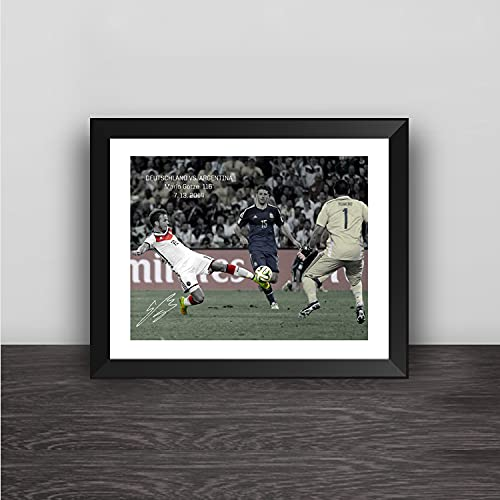 Germany 2014 World Cup Finals Champions Winner Mario Götze Goal Printed Signed Framed Autograph Memorabilia Picture Photo Poster Gift Wall Decoration