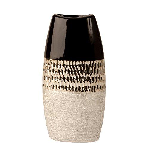 Lifestyle & More Jarrón decorativo moderno de cerámica en color antracita/plata de 30 cm de altura.