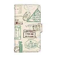 スマ通 Xperia 1 SO-03L 国内生産 カード スマホケース 手帳型 SONY ソニー エクスペリア ワン 【4-ベージュ】 レトロ スタンプ q0004-e0390