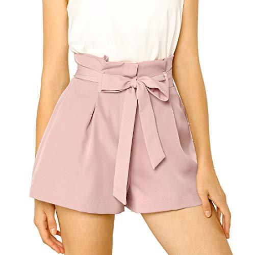 Allegra K Women's Bow Tie High Waist Short Paper Bag Shorts X-Small Pink