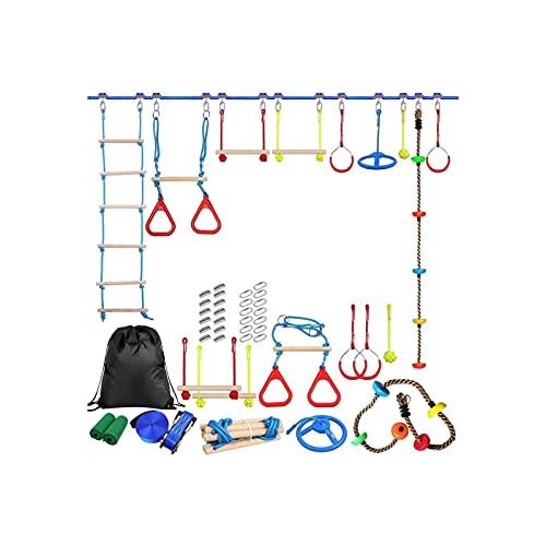 Useful Niños al Aire Libre Escalada Kit de obstáculos Línea para niños Colgando obstáculos Curso Playset Swing Traning Accesorios Convenient ( Color : A )