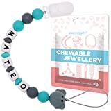 Personalized Pacifier Clip with Name, Customizable Silicone Pacifier Leash with Teething Beads for Baby Infant Toddler Boy, Universally Fit All Pacifiers – Cute Elephant (Grey)