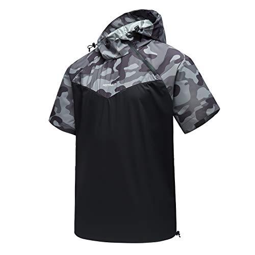 HOTSUIT Sauna Jacket Men Weight Loss Sweat Suit Workout Shirts Jacket Short Sleeve Gym Exercise Top,...