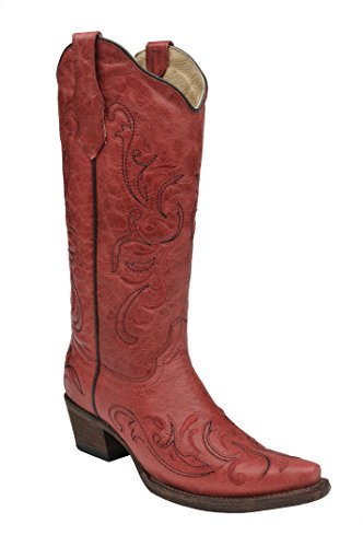 Corral Circle G Women's Red Scroll Embroidery Designed Red Leather Cowgirl Boots red Size: 4 UK