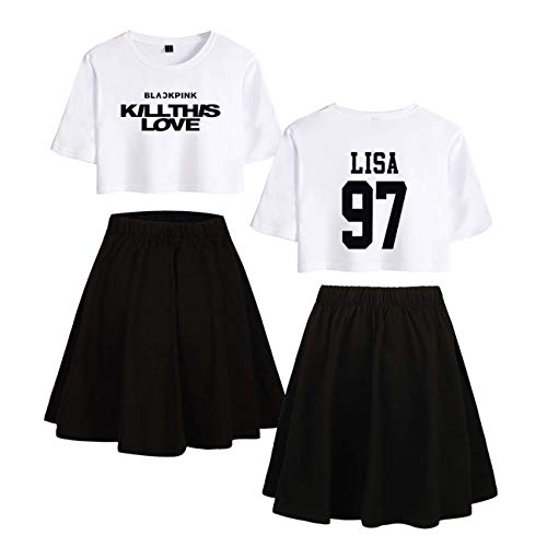 ZIGJOY Black Pink Kill This Love Negro-Blanco Estampado T-Shirt and Skirt Sets Camiseta y Falda para Mujeres y Muchachas