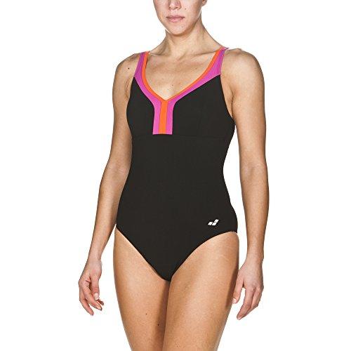 arena Damen Bodylift Badeanzug Renee C-Cup (Shaping, Figurformend, Schnelltrocknend, UV-Schutz UPF 50+), Black-Rose Violet-Mango (509), 38