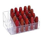 Organizador de pintalabios,24 celdas Organizador de maquillaje transparente,Expositor de cosméticos,para colocar lápiz labial y cosméticos.