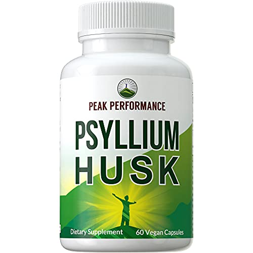 Psyllium Husk Vegan Capsules Made with Organic Psyllium Husk Seed. Fiber Supplement Caps for Gut, Blood Sugar Control. Digestive Prebiotics. Pills for Digestion, Roughage Without Bloating. Tablets