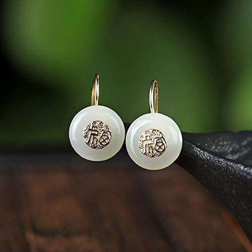 THTHT Vintage S 925 zilveren oorbellen voor vrouwen eenvoudige oorbeugel inlay segmenten safety pin witte Jade Fashion Court creatieve temperament elegant geschenk 3D