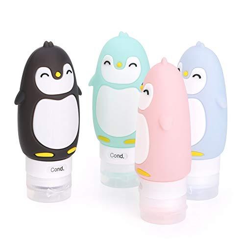 Flacon de Voyage Vide en Silicone,4Pcs Bouteille de Pingouins pour Avion Portables Contenant Cosmetique Approuvé par la TSA
