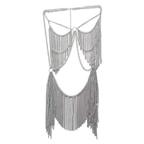 Tubayia Damen Modische Körperkette Quaste Kette BH Halskette Schmuck Zubehör für Badeanzug, Bikini (Silber)