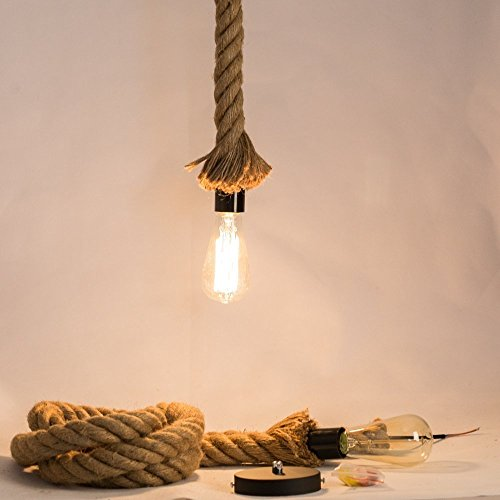 Jorunhe Industrial Pendant Lamp Vintage Edison Nautical Manila Rope Ceiling Light