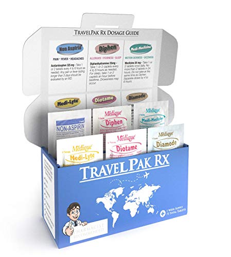 TravelPakRx – 73 Tablets - A Complete Travel Size Medicine Kit - 6 Different Travel Medications in One Box - Acetaminophen - Bismuth - Diphenhydramine - Loperamide - Meclizine - Electrolytes