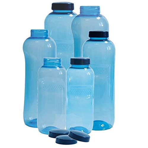 6 x Original Kavodrink Trinkflaschen aus TRITAN 100% ohne Weichmacher im Sparset: 2x1 Liter (rund), 2x 0,75 Liter (rund), 2x0,5 Liter (rund) + 6 Standarddeckel Wasserflaschen
