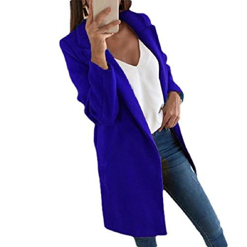Dames Open Voorkant Wollen Overjas Slim Fit Winter Lange Trench Coat
