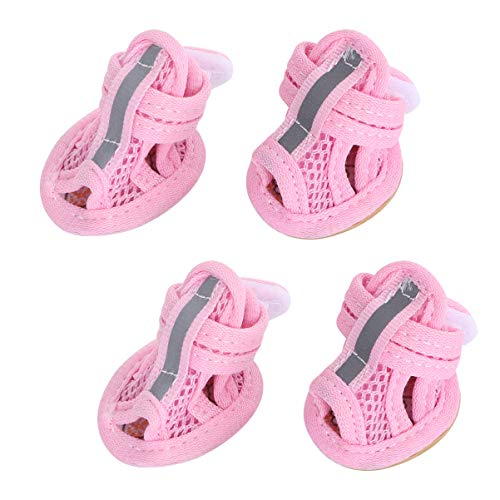 POPETPOP 4pcs Dog Shoes hot Pavement Summer Breathable mesh Boots pet Paws Protector Adjustable Non Slip pet Dogs Booties(Pink)