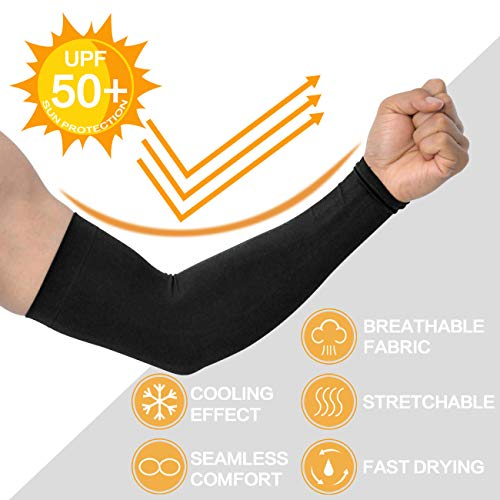 Arm Sleeves for Men and Women, Sleeves to Cover Arms for Men and Women, Gaming Sleeve, UV Protection Cooling Arm Sleeves, 4-Pairs Anti-Slip Compression Sun Sleeves for Cycling Running Outdoor Sports