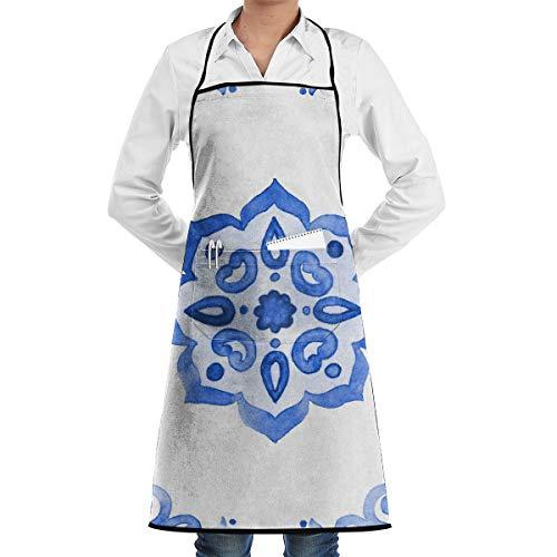Delfts Blauwe Stijl Aquarel Tegel Amsterdam Vintage Keuken Bib Schort Schort Aprons Waterdruppel Bestand Koken Bakken Crafting BBQ Voor Vrouwen Mannen Met Zakken Aangepast