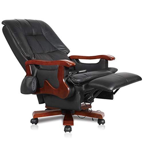CX Executive Stoelen Elektrische Massage bureaustoel, Verstelbare bureaustoel, Swivel Managerial Stoelen met Castor Wielen, Leer met Massief Houtsnijwerk (Bruin)