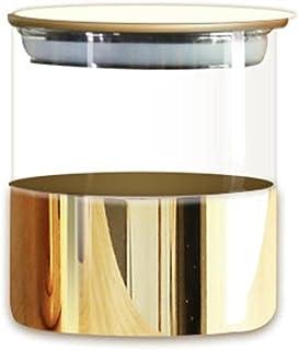 JAR de rangement en verre doré Banque de bonbon décoratif Banque de rangement scellé avec couvercle Spice Grans Pots Boîte...