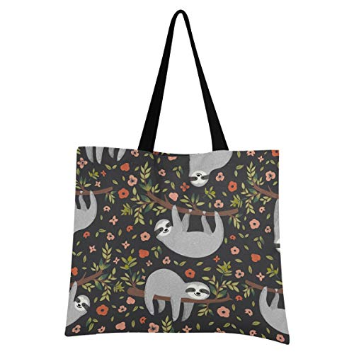 XIXIKO Cute Sloth Animal Floral Tree Tote Bag Lightweight Beach Bag Canvas Tote Bag Shoulder Bags Resistant Handbag for Women Girls Shopping Gym Beach Travel Daily Bags