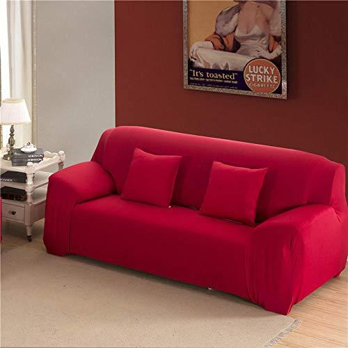 B/H Lavable/Antiácaros Funda de sofá,Funda de sofá Todo Incluido de Color sólido, cojín de sofá de Tela elástica-Rojo B_195-230cm,Sillón Elastano Fundas de Sofá