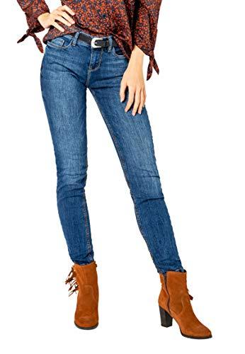 Sublevel Damen Skinny Jeans Hose mit Western-Gürtel Middle-Blue L
